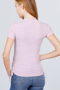 Short Sleeve Mock Neck Side Shirring Detail Rib Knit Top