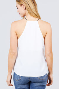 Elastic String Halter Neck Woven Top