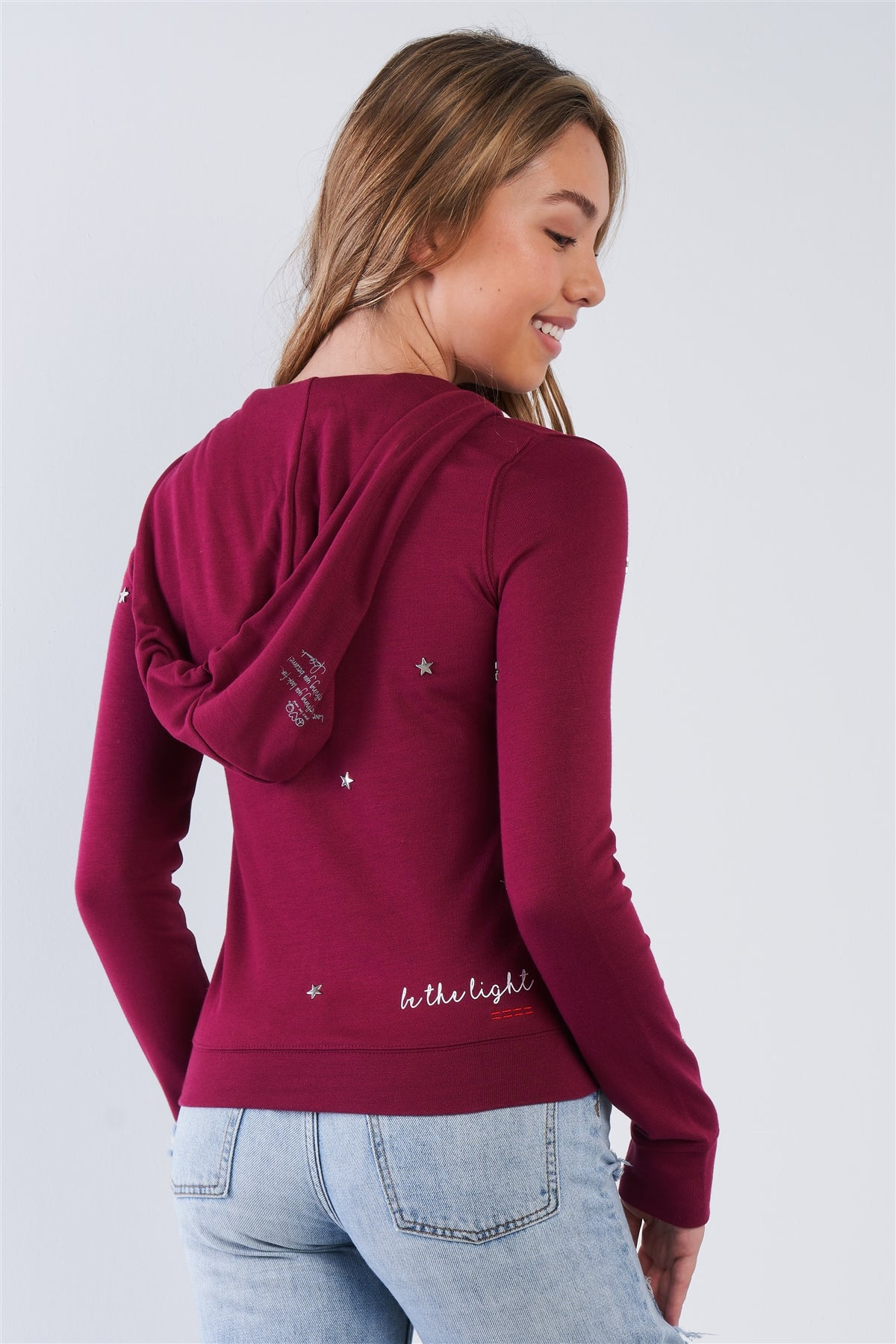 "Plum Long Sleeve ""be The Light"" Graphic Star Studded Comfy Zip Up Hoodie"