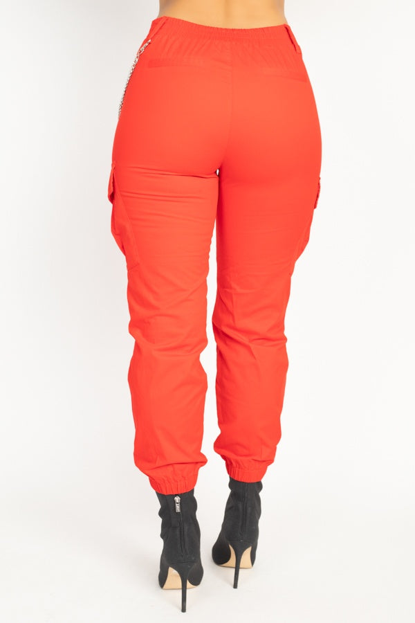 Chain Cargo Twill Jogger Pants