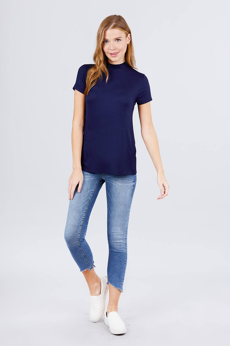 Short Sleeve Mock Neck Rayon Spandex Rib Top
