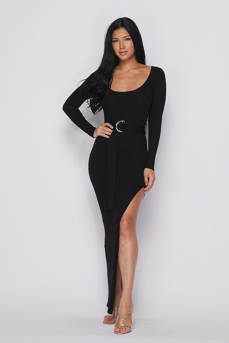 Ribbed Long Sleeve Maxi Dress