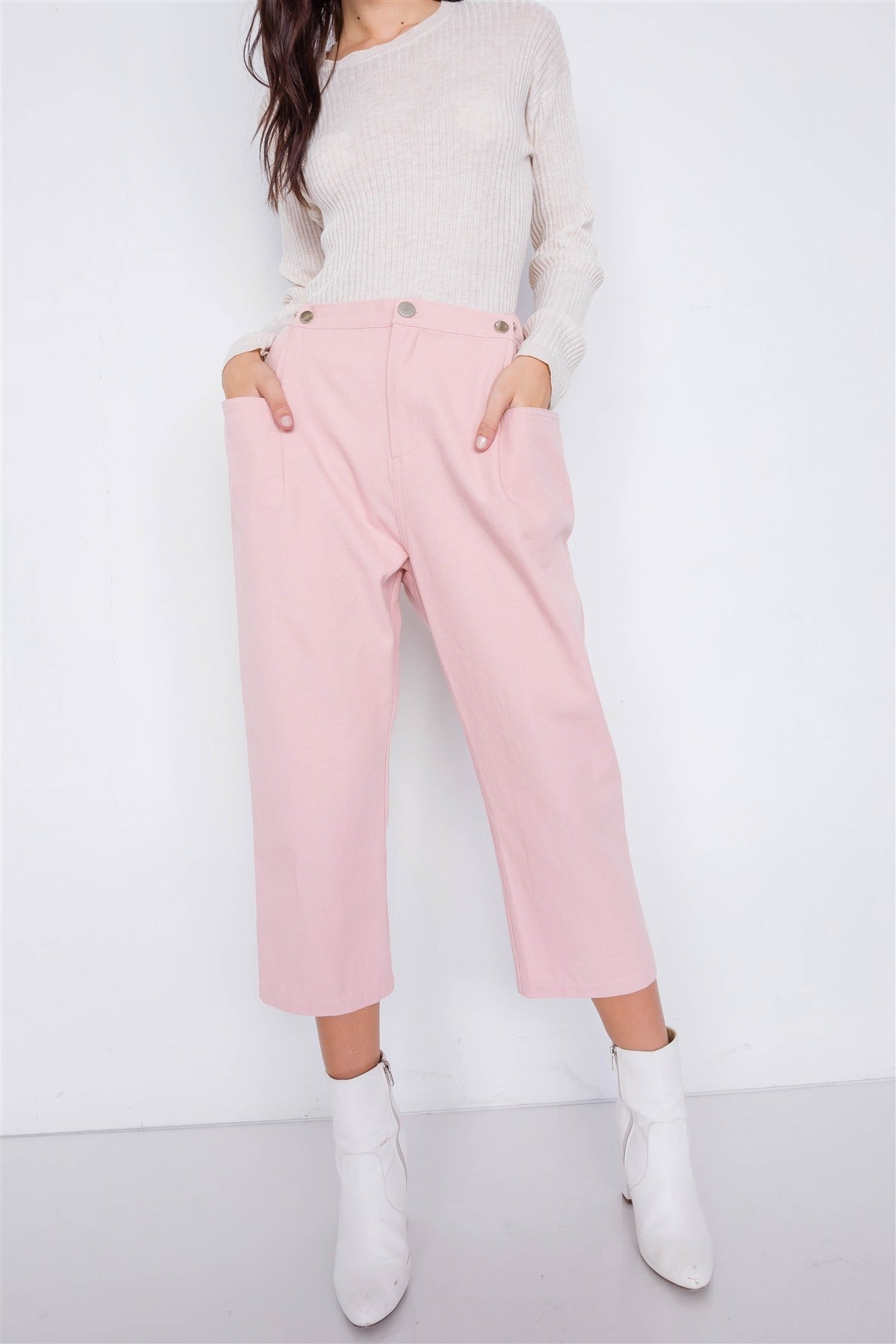 Pastel Chic Solid Ankle Wide Leg Adjustable Snap Waist Pants - De Bawa Inc.