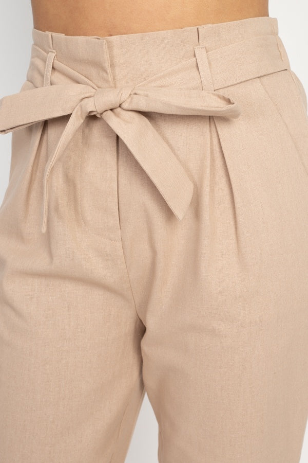 Belted Linen Paper Bag Pants - De Bawa Inc.