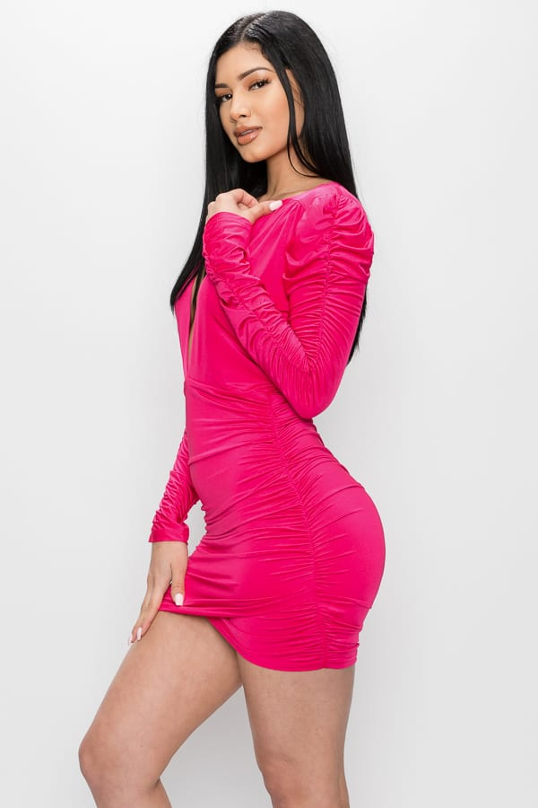 Plunged V-neck Ruched Sleeve Mini Dress