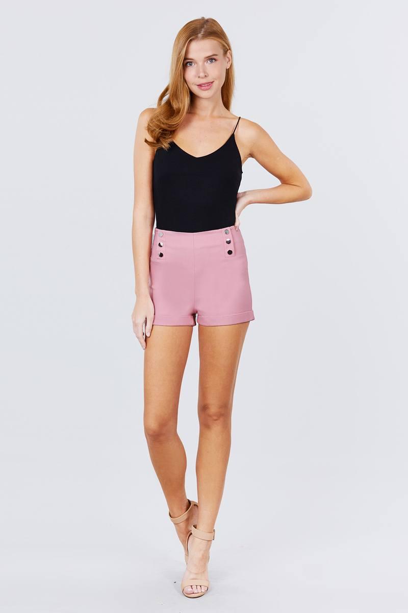 High Waist Button Detail Rolled Up Woven Short Pants