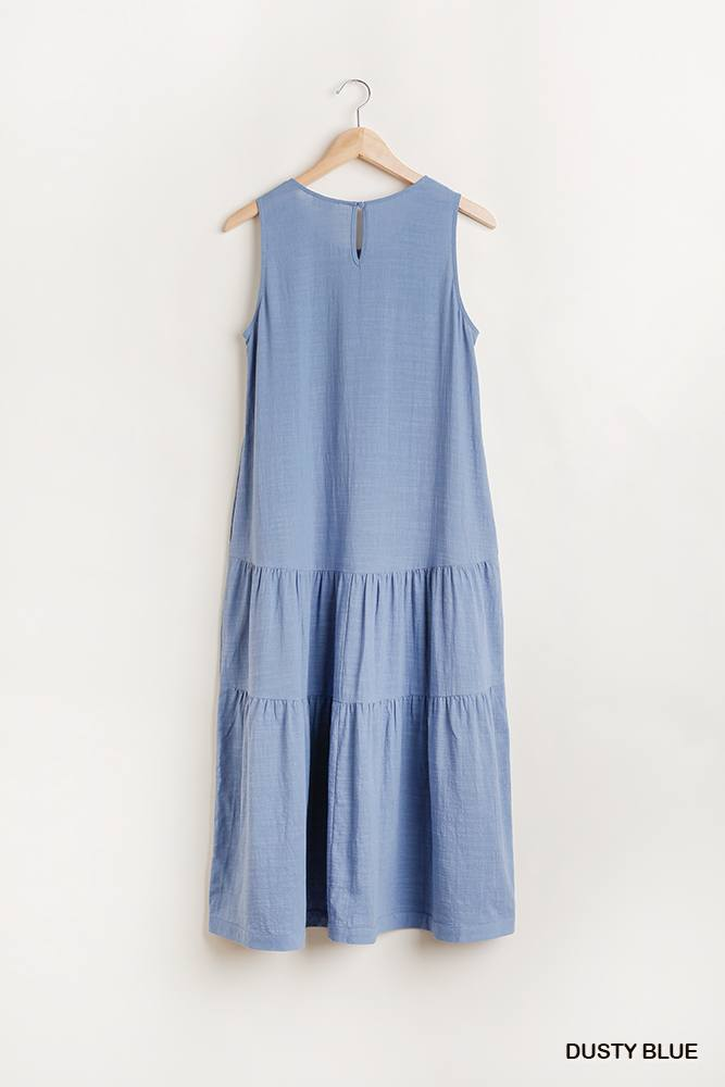 Sleeveless Tier Maxi Dress With Back Keyhole