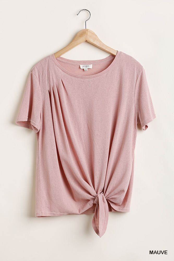 Flowy Fit Round Neck Top With Front Knot And Lining Detail