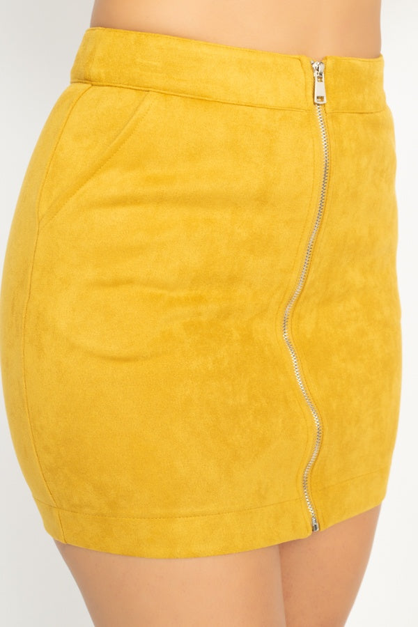 Faux Suede Front Zip Skirt - De Bawa Inc.