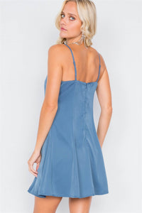 Seafoam Blue V-neck Satin Lace Trim Mini Chic Festival Dress