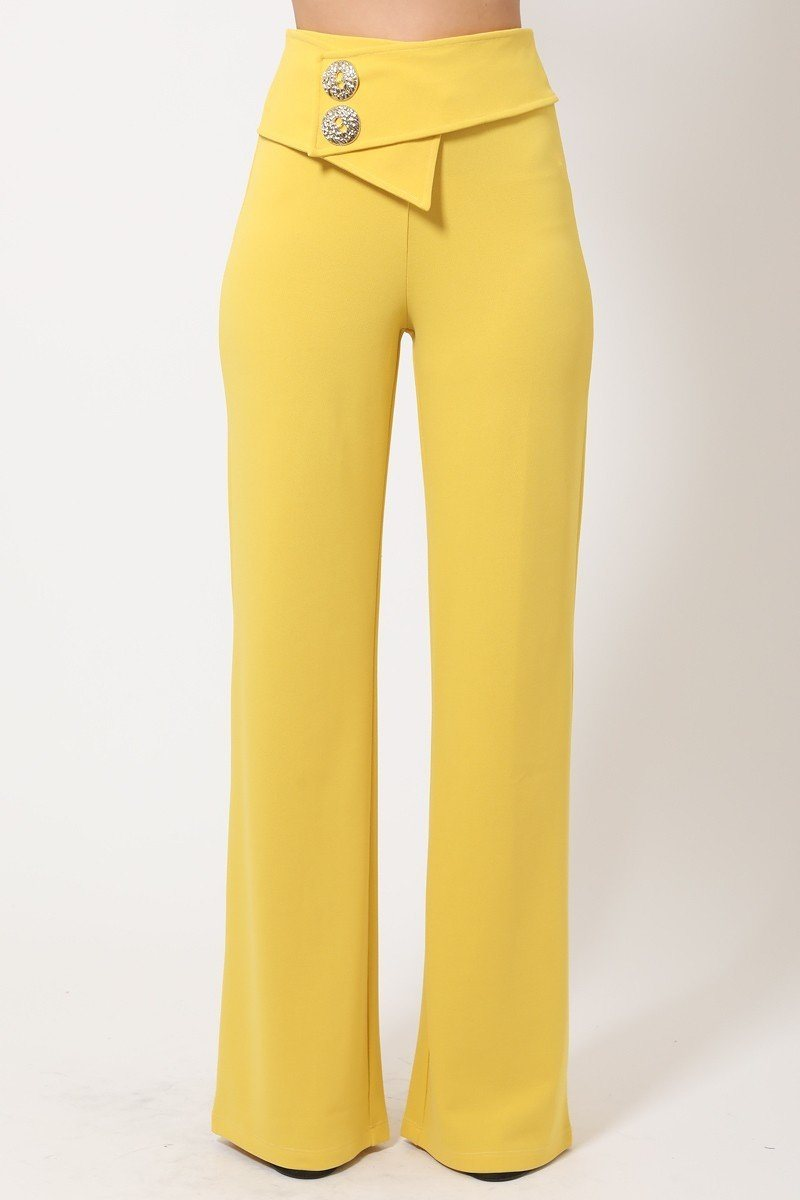 Oversized Button Front Detail Pants - De Bawa Inc.