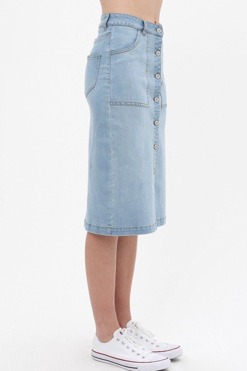 Denim Mid Thigh Length Skirt With Button Down Front Detail - De Bawa Inc.