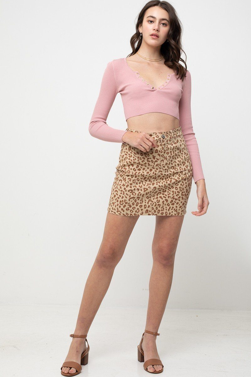 Leopard Printed Cotton Span Mini Skirt - De Bawa Inc.