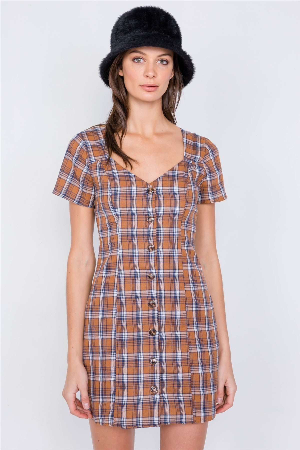 Brown Multi Checkered Stripe Casual Open Back Vintage Mini Dress