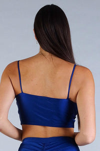 Sexy Spaghetti Strap Darted Under Bust Crop Top