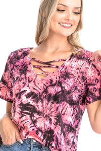 Tie Dye Print Short Sleeve Top