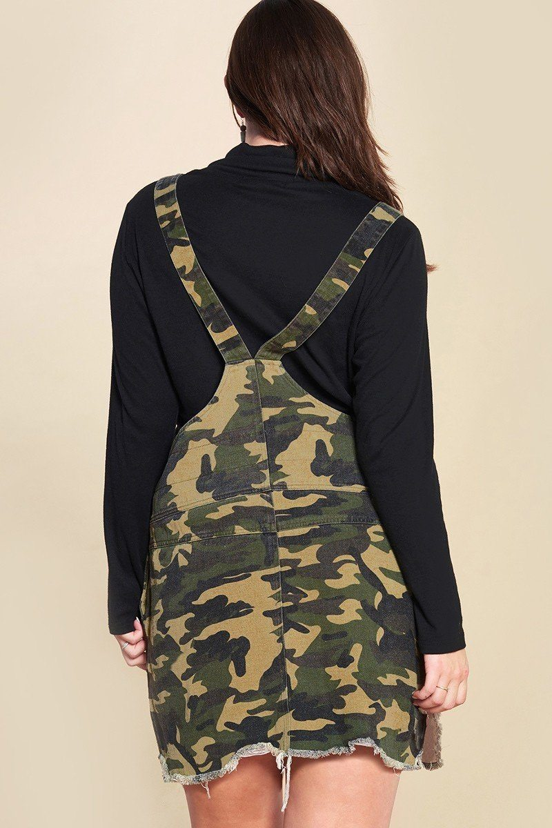 Camouflage Printed Overall Mini Dress Featuring Pockets And Frayed Hem