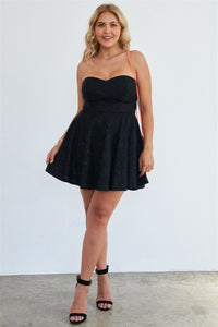 Plus Size Strapless Black Floral Lace Embroidered Flare Mini Dress