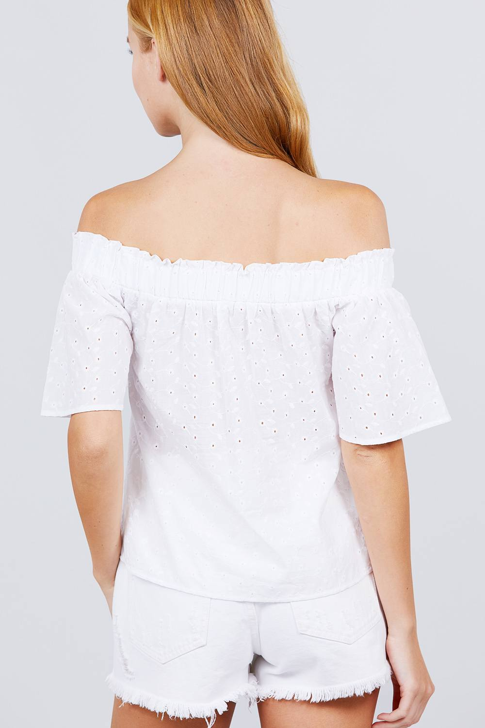 Short Sleeve Off The Shoulder Eyelet Woven Top