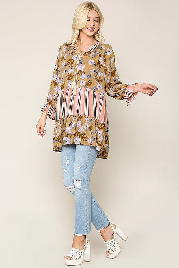 Mix And Match Tassel Tie Peasant Top