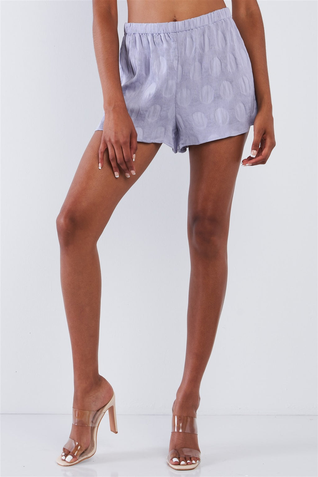 Lavender Circle Print Fine Accordion Pleaded Relaxed Fit Shorts - De Bawa Inc.