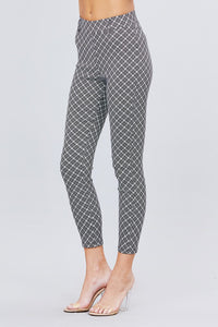 Elastic Band Glen Check Jacquard Yarn Dye Woven Long Pants