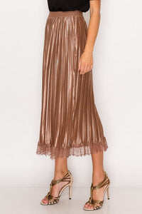 Lace Trim Accordion Pleated Midi Skirt - De Bawa Inc.