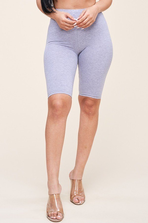 Solid Cotton Lycra Biker Length Shorts - De Bawa Inc.