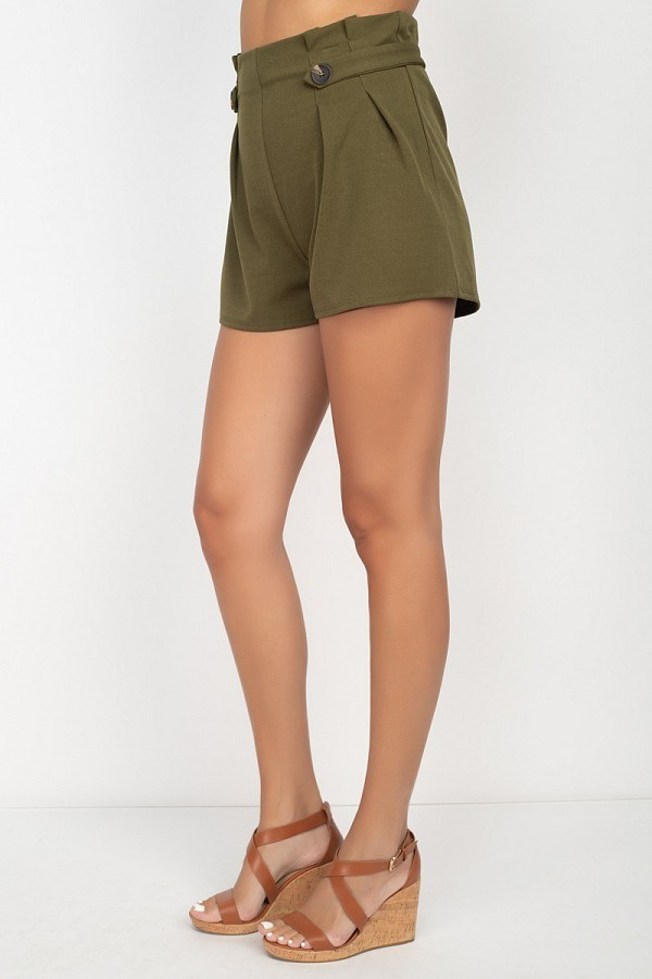Button Tab High Rise Paperbag Shorts - De Bawa Inc.