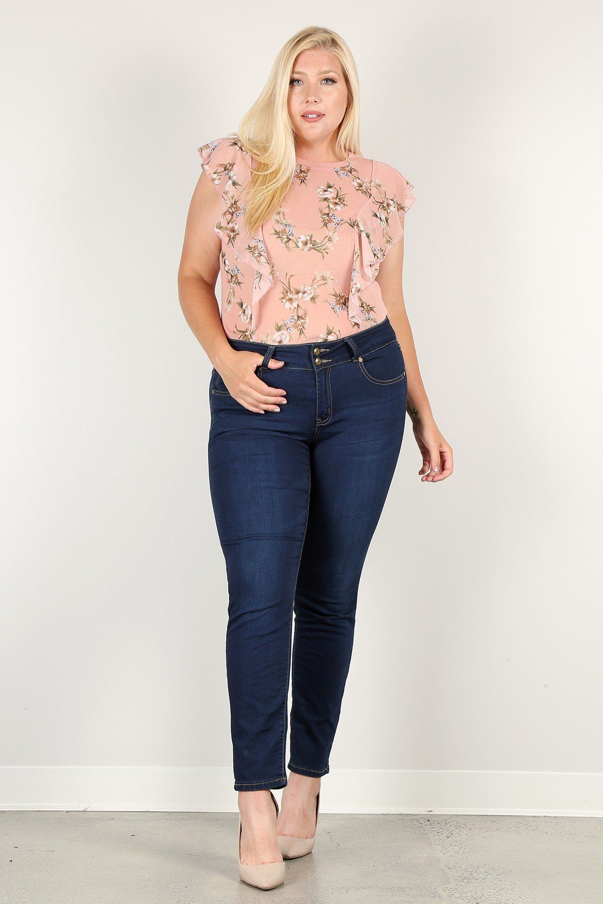 Plus Size Floral Print Sheer Top