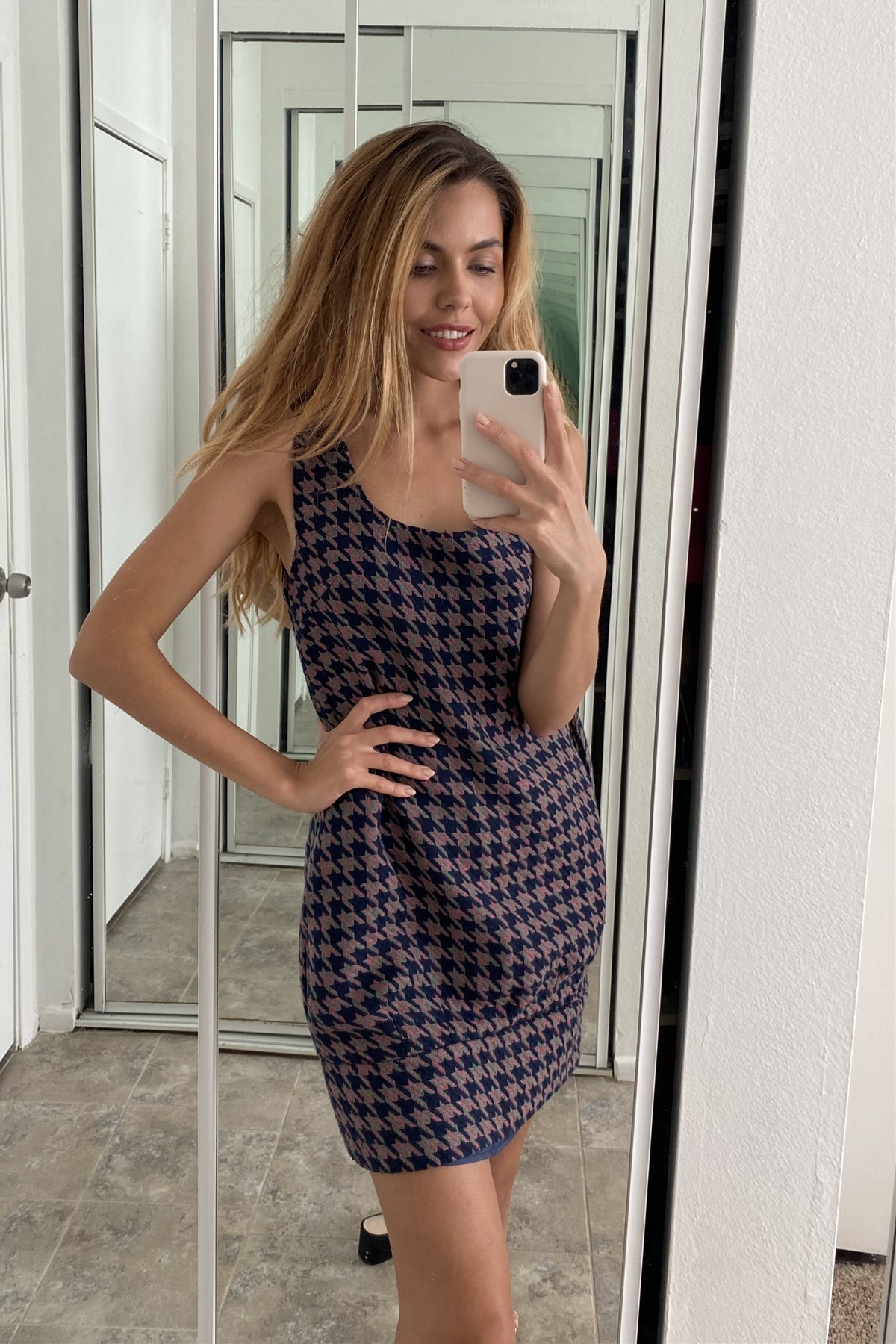 Multi Houndstooth Pattern Sleeveless Mini Dress