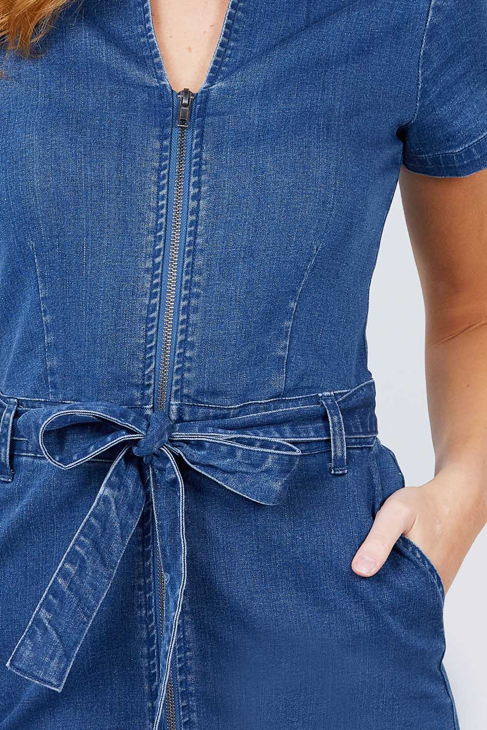 Short Sleeve Collar With Front Zipper Waist Ribbon Denim Mini Dress
