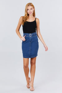 Elasticized Waist With Belt Side Pocket Denim Skirts - De Bawa Inc.