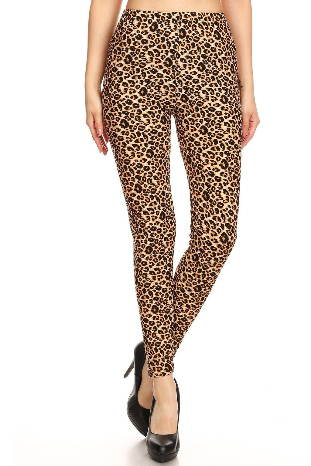 Leopard Printed, Full Length, High Waisted Leggings In A Fitted Style With An Elastic Waistband. - De Bawa Inc.