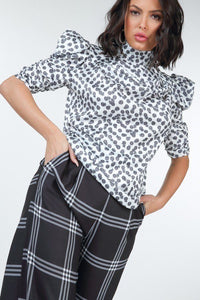 High Waist Plaid Print Wide Leg Pants - De Bawa Inc.
