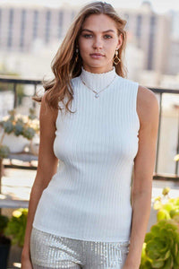 Mock Neck Sleeveless Rib Solid Knit Top