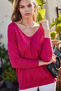 V Neck 3/4 Sleeve Side Slit Hi-lo Sweater