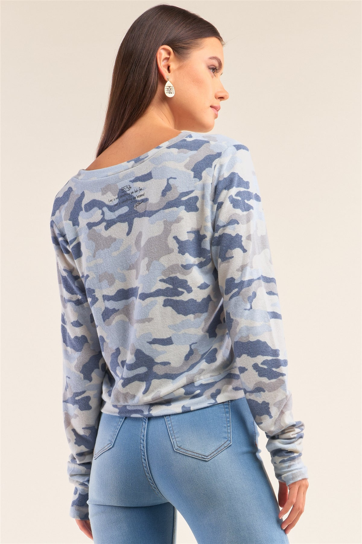 "Camo Blue Long Sleeve V-neck ""self Love"" Comfy Top"