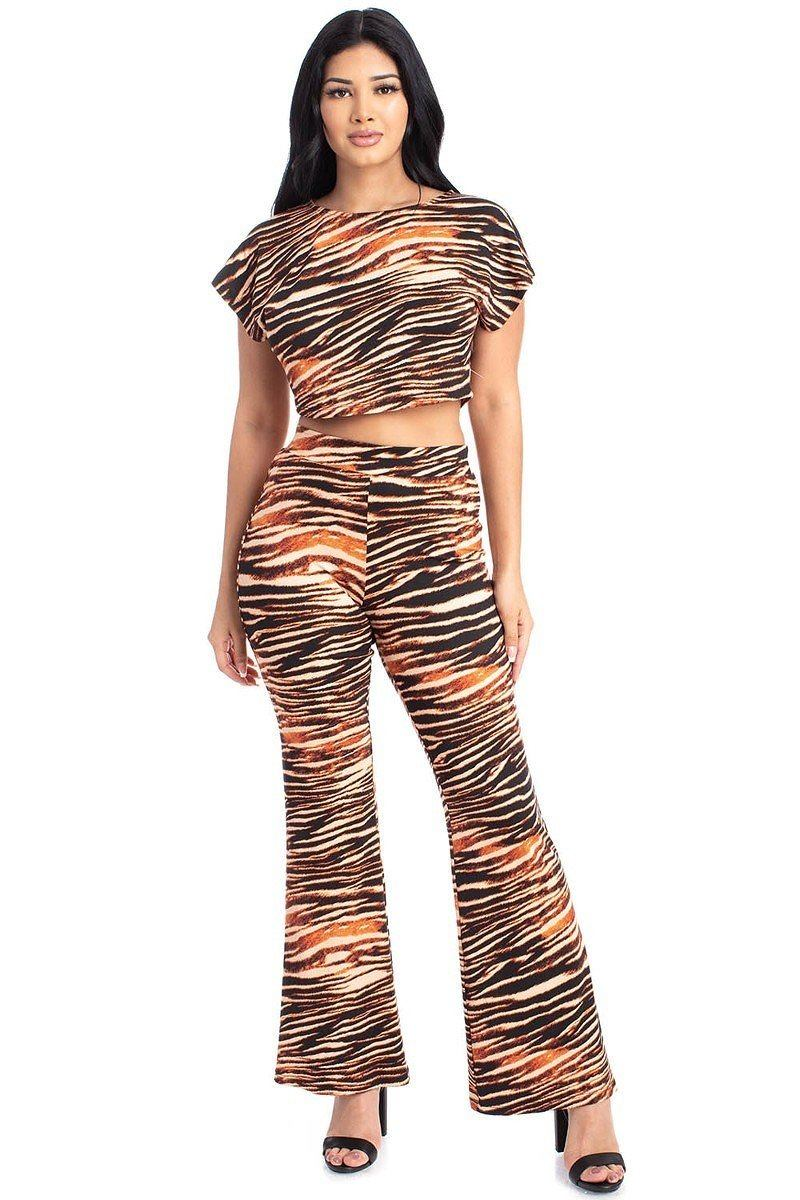 Zebra Print Crop Top And Palazzo Pants Set