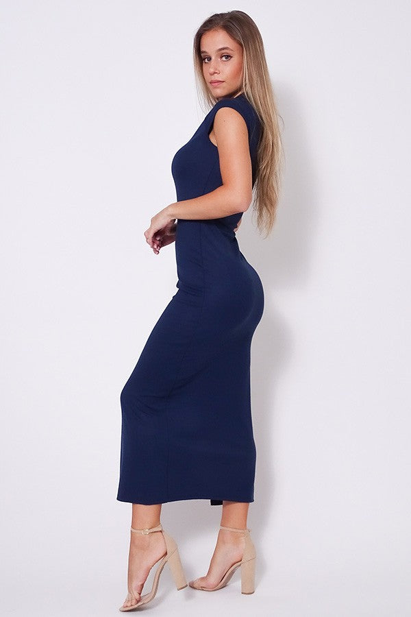 High Neck Cap Sleeve Slitted Basic Midi Dress
