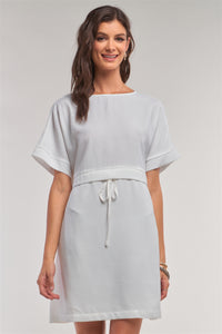 Off-white Short Sleeve Relaxed Fit Draw String Tie Waist Detail Mini Dress