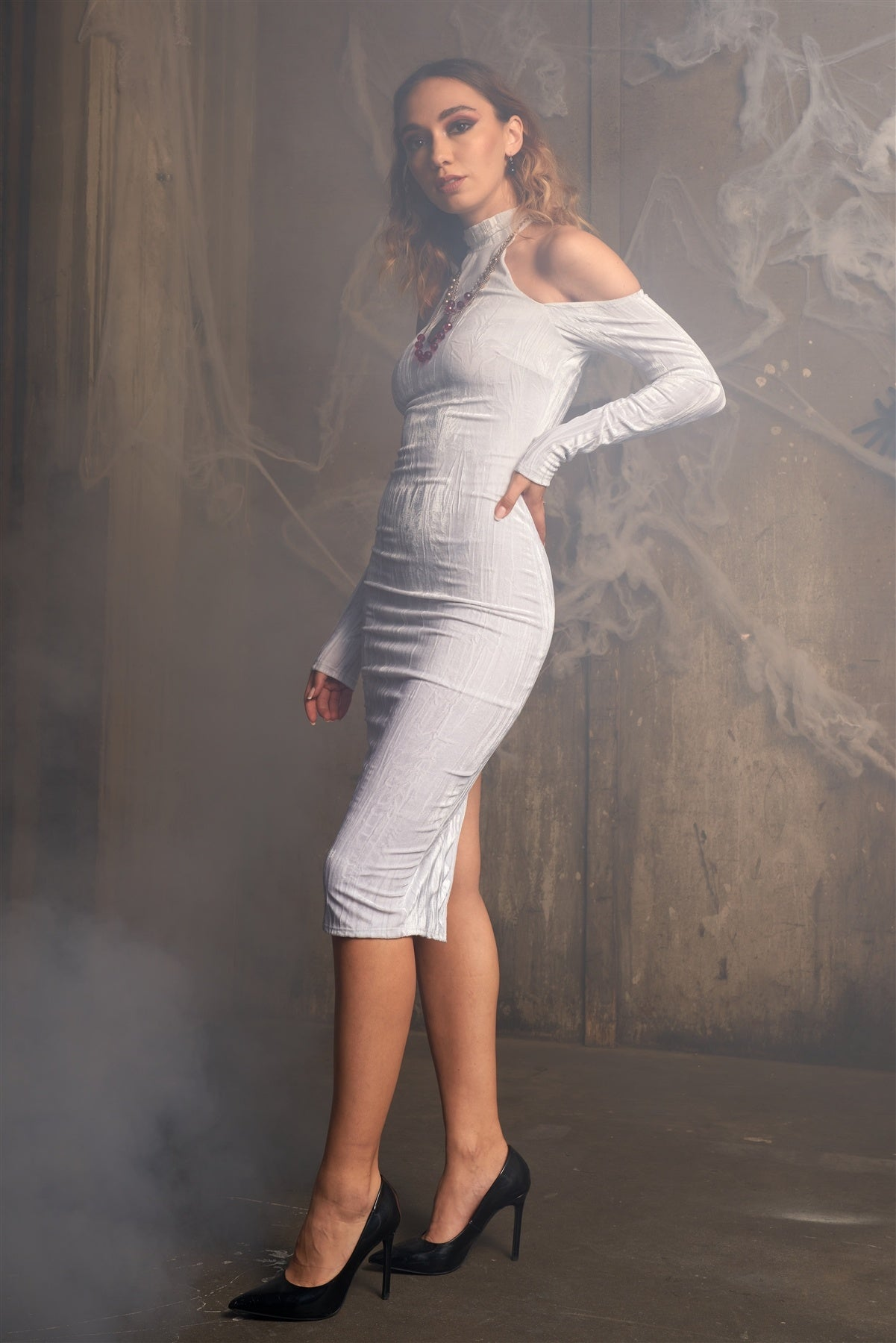 White Velvet Halter Crushed Cold Shoulder Turtleneck Long Sleeve Back Slit Midi Dress