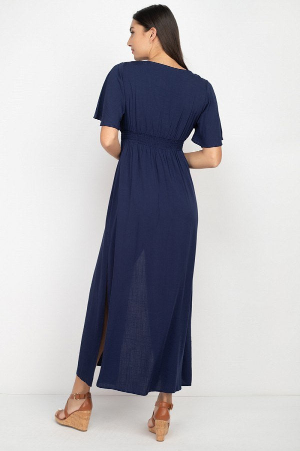Side Slit Smocked Waist Maxi Dress