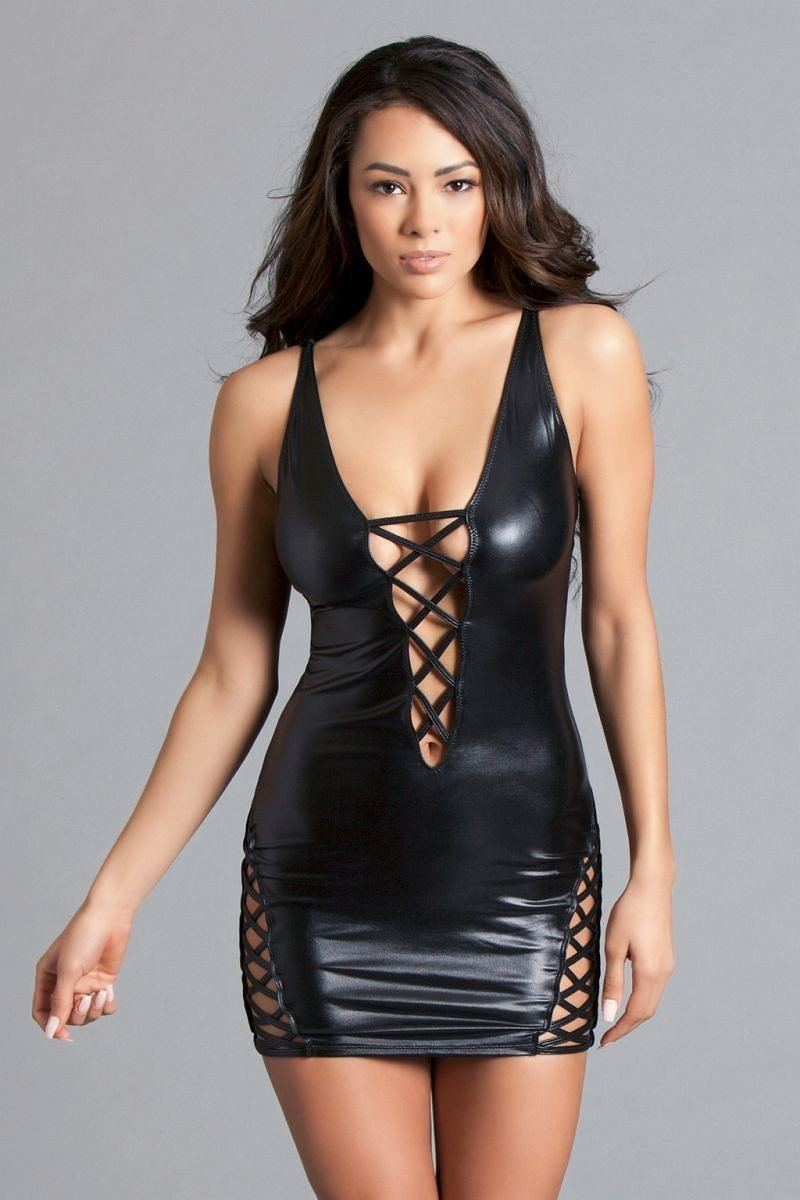 Deep Plunge Mini Dress, Cross-strap Detail Up The Front