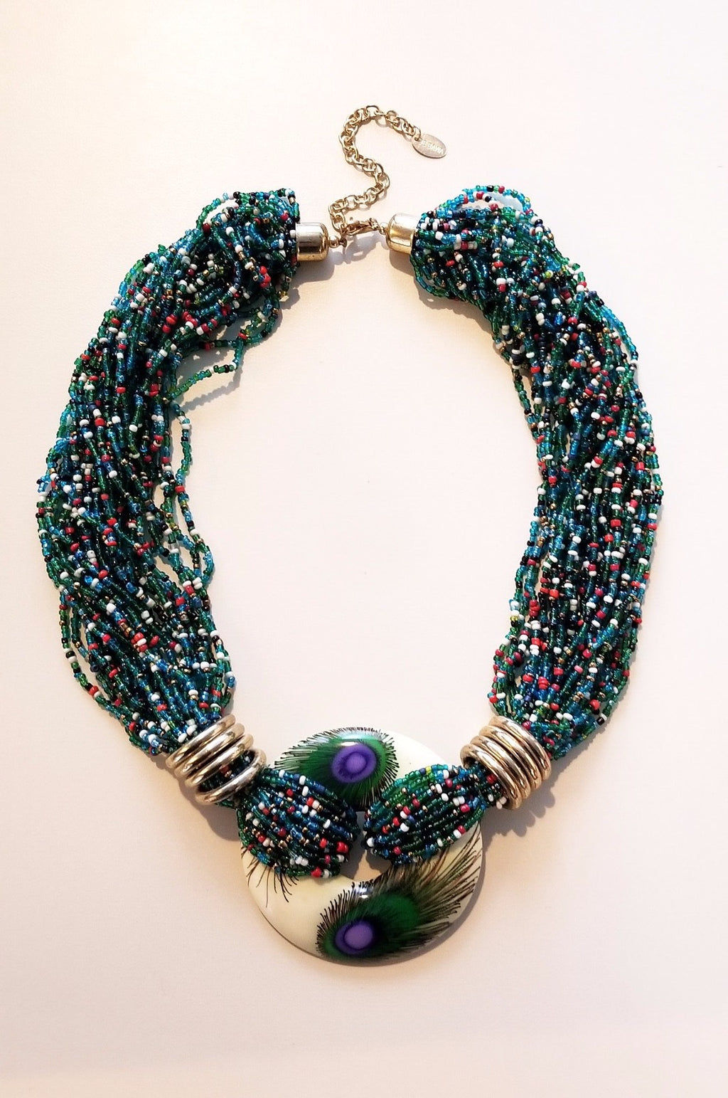 Peacock Elegance Statement Necklace - De Bawa Inc.