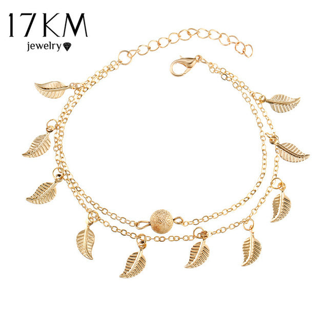 06512c020 ... Summer Beach 2 Color Double Leaves Pendant Anklet Foot Chain Bohemian  Handmade Beads Anklets