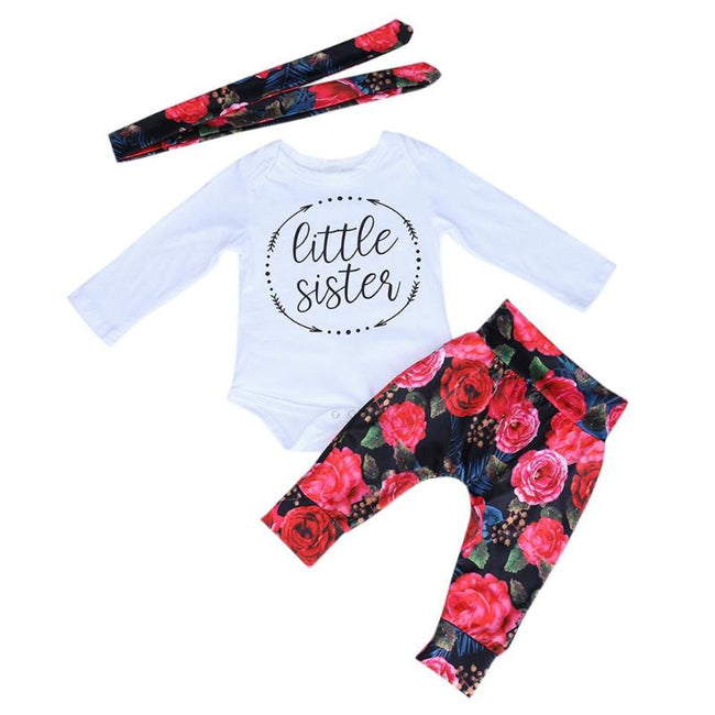 74130f5271a07 3pcs/Set Baby Girls Casual Clothes Set Kids White Letter Pattern Romper +  Peony Pattern
