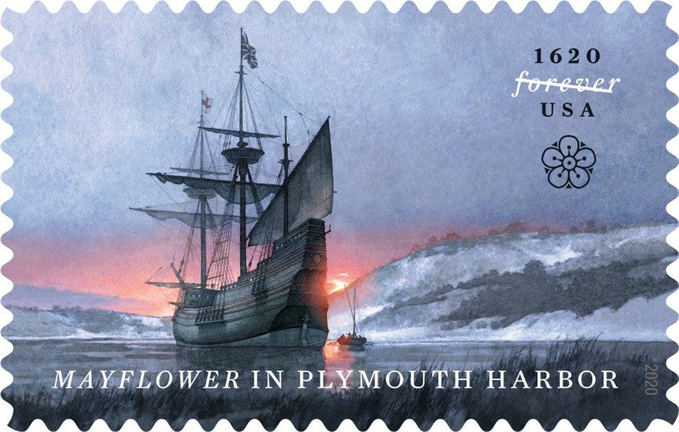 Mayflower in Plymouth Harbor USA Forever Stamp