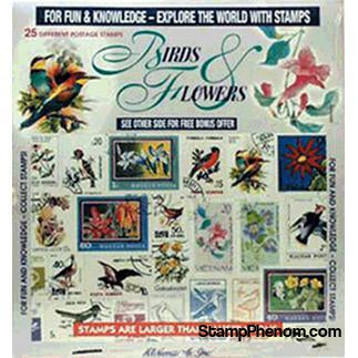 Birds & Flowers - 25 Stamps-Stamp Packets-HE Harris & Co-StampPhenom