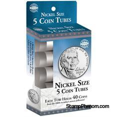 5 Round Coin Tube - Nickel-Coin Tubes-HE Harris & Co-StampPhenom